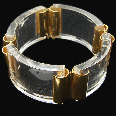 deco made in france gold and lucite crescents bangle bracelet. Black Bedroom Furniture Sets. Home Design Ideas