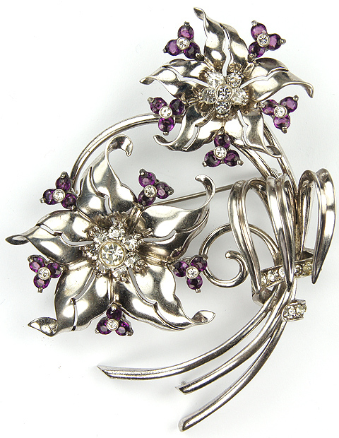 Trifari L\u2019Etoile brooch stunning faded light amethyst