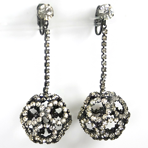 Hattie Carnegie Japanned Metal and Diamante Buckyball Pendant Clip Earrings :  hattie carnegie clip earrings diamante vintage