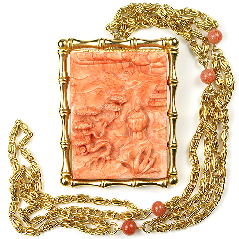 Hattie Carnegie Oriental Carved Coral Scene in Gold Frame Pendant Necklace