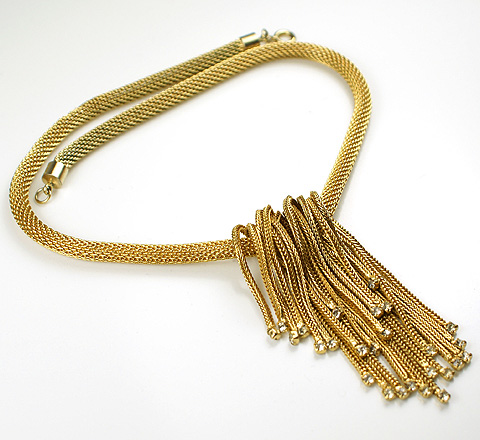 Vintage Hattie Carnegie Fold Over Golden Tassles with Spangles Necklace :  necklace hattie carnegie gold vintage