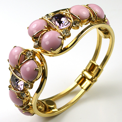 Vintage Hattie Carnegie 'Jewels of Fantasy' Pink Quartz and Amethyst Bangle Bracelet :  amethyst bracelet hattie carnegie vintage