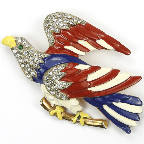 Ww2 Us Patriotic Gold Pave And Enamel Red White And Blue Eagle On