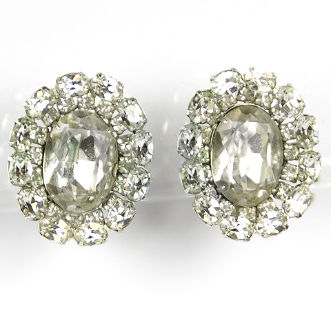 Christian Dior by Kramer Diamante Button Clip Earrings